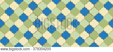 Ramadan Kareem Islamic Illustration. Traditional Ramadan Mosque Golden Tile. Moroccan Seamless Textu