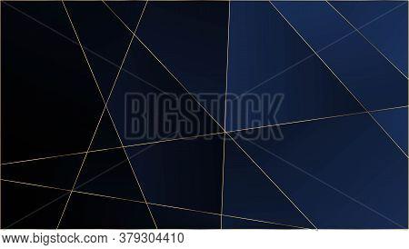 Blue Premium Polygon Pattern. Gold Lines Triangular Luxury Border. Rich Silver Vip Geometric Celebra