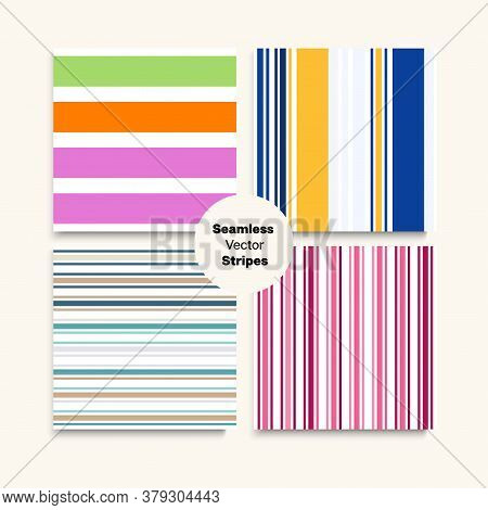 Sailor Stripes Seamless Design Set. Female Male Childrens Seamless Stripes Pattern. Trendy Fashion B