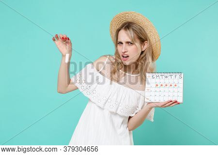 Disgusted Young Woman Girl In White Dress Hat Hold Periods Calendar For Checking Menstruation Days S