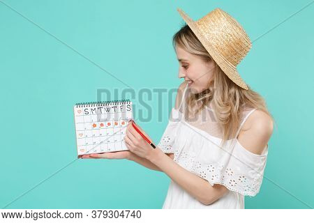 Smiling Young Woman Girl In White Dress Hat Hold Periods Calendar For Checking Menstruation Days Red
