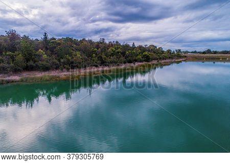 Frankston Reservoir Coastline On A Cloudy Day. Melbourne, Australia