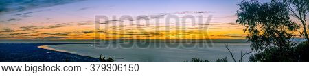 Wide Panoramic Landscape Of Sunset Over Mornington Peninsula In Melbourne, Australia