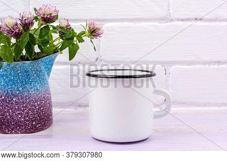 White Campfire Enamel Mug Mockup With Pink Clover