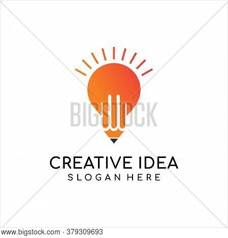 Logo Creativity For Design Template. Modern Lamp And Pencil Vector Element. Art, Paint, Inspiration,