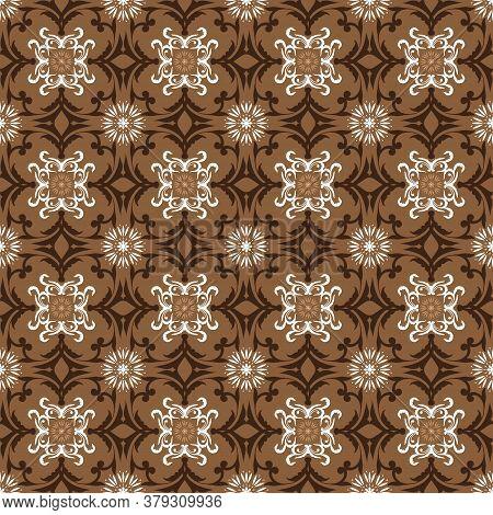 Flower Design Pattern For Indonesian Traditional Batik Clothes With Elegant Brown Color Design.