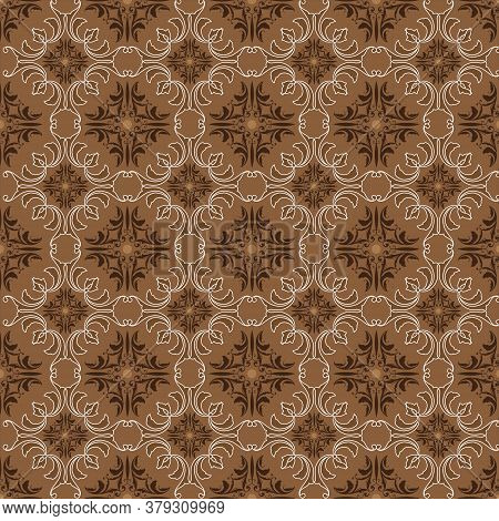 Beautiful Batik Patterns For Javanese Traditional Clothes With Simple Brown Color Design.
