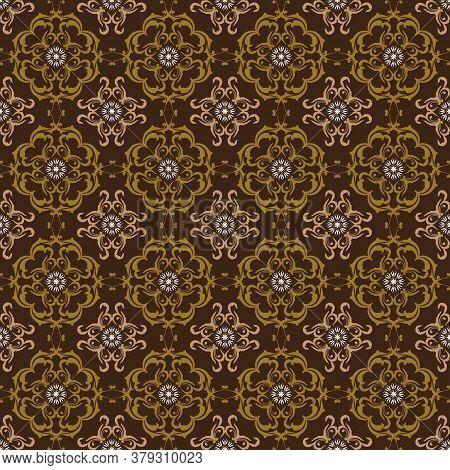 Modern Motifs In Central Java Batik Style With Dark Brown Background Design.