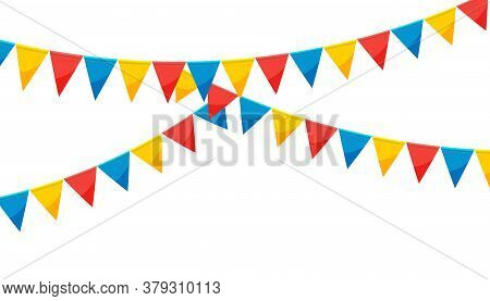 Circus Paper Bunting Party Flags Isolated On White Background. Carnival Garland With Flags. Decorati