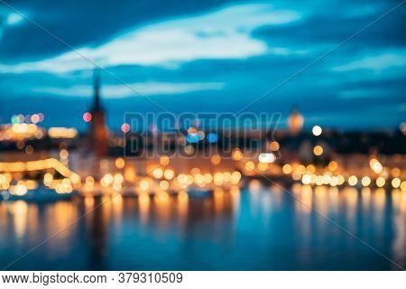 Stockholm, Sweden. Night Skyline Abstract Boke Bokeh Background. Design Backdrop.