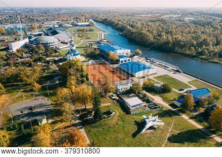 Pinsk, Brest Region Of Belarus, In The Polesia Region. Pinsk Cityscape Skyline In Autumn Day. Birds-