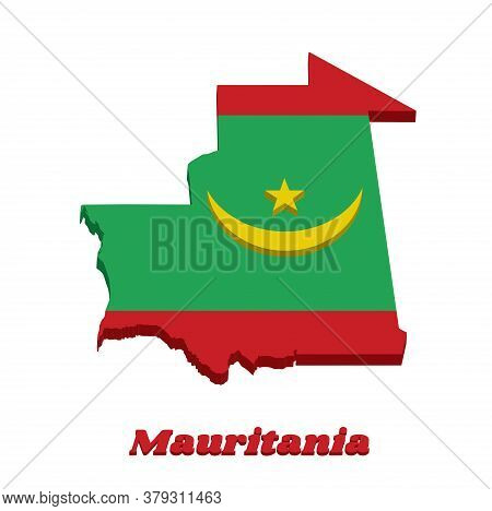 3d Map Outline And Flag Of Mauritania, Two Red Stripes Flanking A Green Field; Charged With A Golden