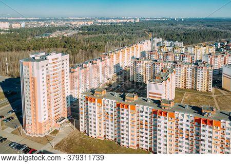 Gomel, Belarus. Aerial Birds-eye View Of New Residential Multi-storey Houses. Cityscape Skyline In S