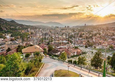Sarajevo skyline day sunset view at summer in Bosnia and Herzegovina. Panorama cityscape of Sarajevo.