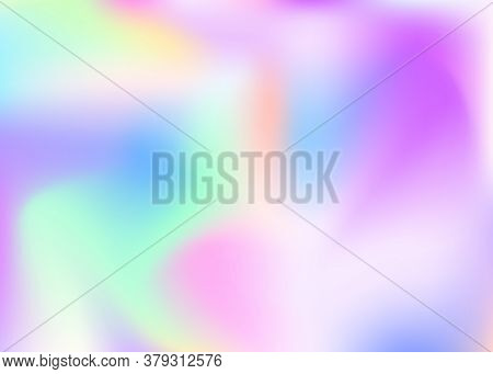 Hologram Abstract Background. Stylish Gradient Mesh Backdrop With Hologram. 90s, 80s Retro Style. Ir