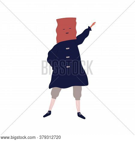 Funny Male Character In Costume With Box On Head Vector Flat Illustration. Joyful Guy Dancing Wearin