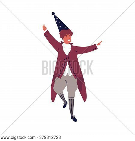 Smiling Male Wizard Dancing At Theme Party Vector Flat Illustration. Joyful Guy In Cap And Carnival