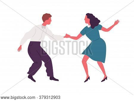 Joyful Man And Woman Performing Lindy Hop Dance Movement Vector Flat Illustration. Active Couple Dan