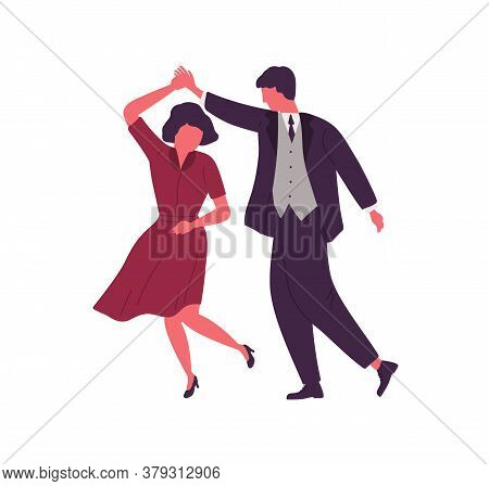 Couple Dancing Together Holding Hands Vector Flat Illustration. Man And Woman Dancers Performing Dan