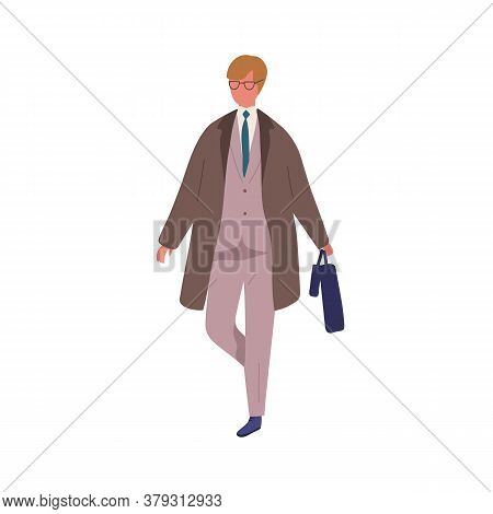 Business Male In Trendy Suit Carrying Briefcase And Umbrella Vector Flat Illustration. Businessman I