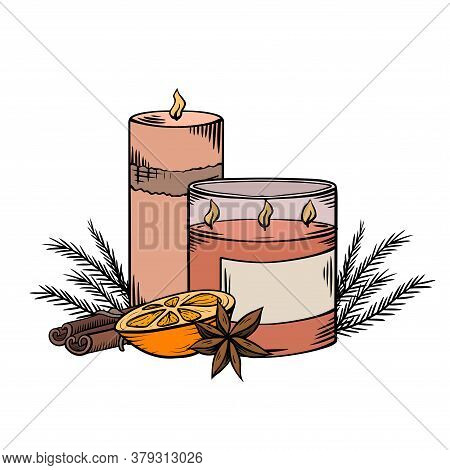 Relax Candles. Color Sketch With Shading. Wax Candles With Juniper Twigs, Cinnamon And Orange Slice.
