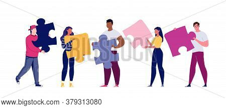 Team Building Concept. Business Team Metaphor. Business Partners Or Company Employees Work Together