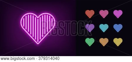 Neon Heart Icon. Glowing Neon Heart Sign With Vertical Line Texture, Amour Shape In Vivid Colors. Ro