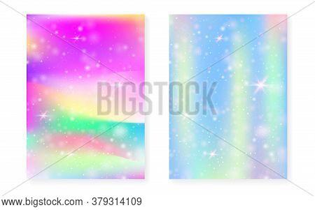 Unicorn Background With Kawaii Magic Gradient. Princess Rainbow Hologram. Holographic Fairy Set. Tre