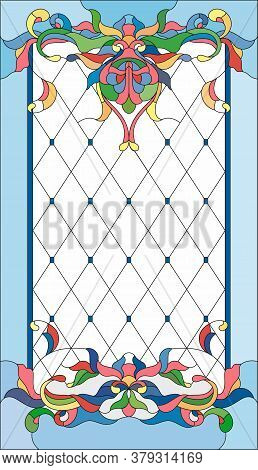 Stained Glass Panel In A Rectangular Frame, Abstract Floral Arrangement Of Buds And Leaves In The Ar