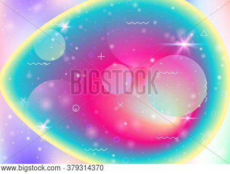 Hologram Background With Vibrant Rainbow Gradients. Dynamic Fluid. Holographic Cosmos. Design Layout