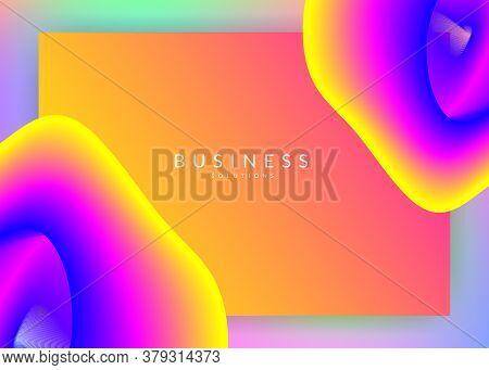 Liquid Fluid. Business Website, Banner Template. Vivid Gradient Mesh. Holographic 3d Backdrop With M