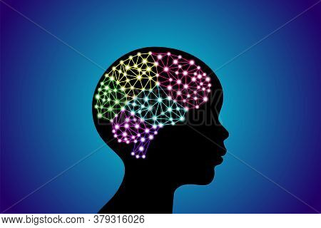 3d Digital Neuro Multicolored Colorful Glowing Particles Lines And Dots Plexus Structure Human Brain