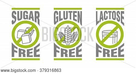 Sugar Free, Gluten Free, Lactose Free - Set Of Vector Attention Tags - Food Cover Decoration Element
