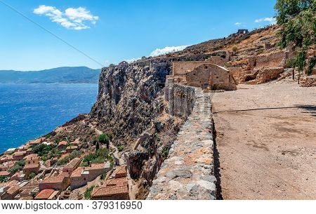 Monemvasia, Greece: View Of The Lower Town And The Ruins Of The Upper Town.