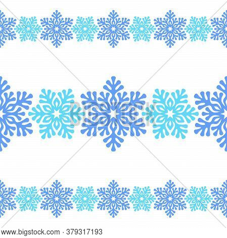 Seamless Horizontal Border With Blue Openwork Snowflakes On A White Background. Vector Design Templa