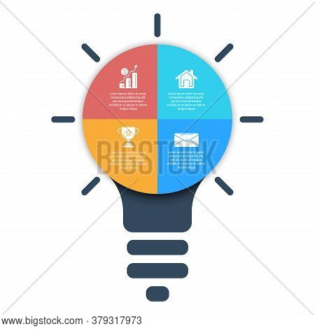 Light Bulb Infographic. Modern Colorful Lamp. Business Idea Concept With 4 Options, Steps Or Element