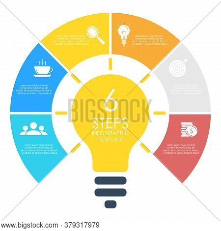 Light Bulb Infographic. Modern Colorful Lamp. Business Idea Concept With 6 Options, Steps Or Element