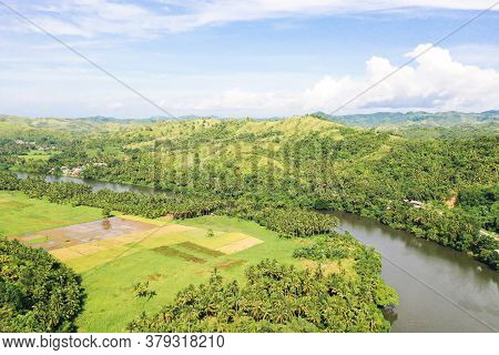 River And Green Hills. Beautiful Natural Scenery Of River In Southeast Asia. Countryside On A Large