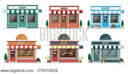 Empty Store Front With Window And Door. Wooden And Brick Facade. Glass Showcase Of Boutique. Small E