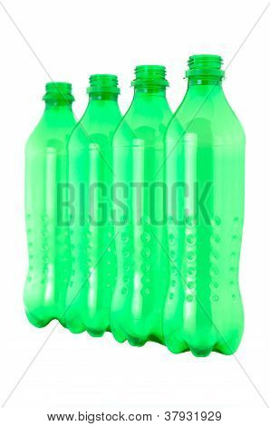 Used Plastic Green Bottles