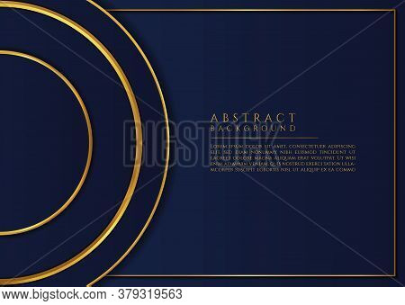 Circle Overlap Shape Gold Color Luxury Frame Design With Space For Content. Vector Illustration.