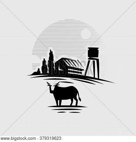 Cow On The Background Of The Village. House, Forest, Water Tower. Vector Illustration.