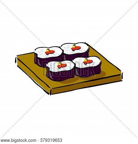 Sushi On Wooden Tray. Red Symbol Of Japan And Sakura. Chopsticks, Wasabi, Soy Sauce, Ginger. Vector