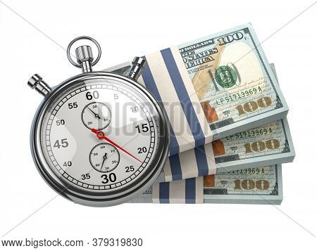 Stopwatch with packs of dollar isolated on white. Fast credit, financial and investments, time is money concept. 3d illustration