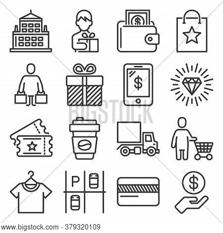 Shopping Mall Icons Set On White Background. Vector