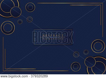 Luxury Circle Overlap Layer Gold Metallic Color Frame Pattern Background. Vector Illustration.