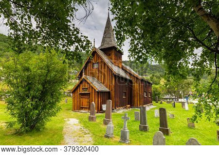 Pictureque Wooden Hol Church Or Hol Kirke In Leknes On The Island Vestvagoy In Nordland County, Norw