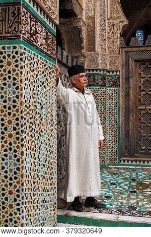 Fes, Morocco - Oct 15, 2019: The Medersa Bou Inania Is A Madrasa In Fes, Morocco. Medersa Bou Inania