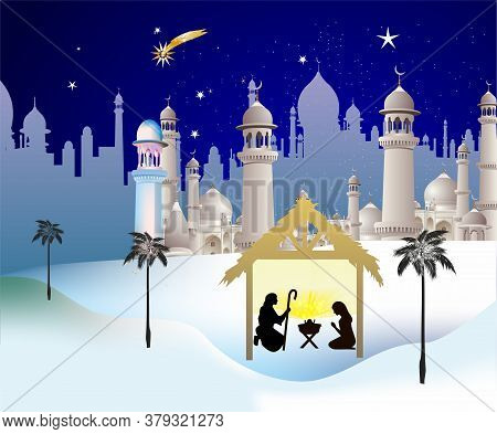 Christmas Composition With The Holy Family In A Stable Against The Background Of The Stars And The C