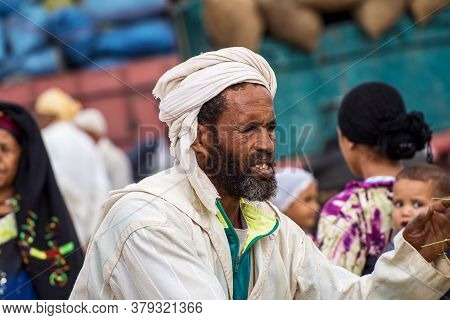 Erfoud, Morocco - Oct 19, 2019: Local Residents At The Road Of A Thousand Kasbahs In Their Activitie